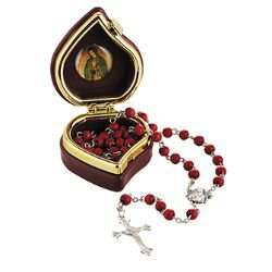 Our Lady of Guadalupe Rose Scented Rosary with Case - 12/pk