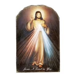 Marco Sevelli Arched Tile Plaque with Stand - Divine Mercy