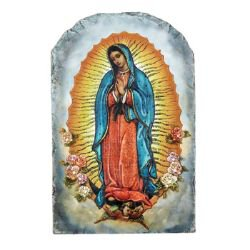 Marco Sevelli Arched Tile Plaque with Stand - Our Lady of Guadalupe