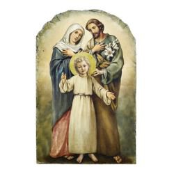 Marco Sevelli Arched Tile Plaque with Stand - Holy Family