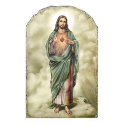 Marco Sevelli Arched Tile Plaque with Stand - Sacred Heart