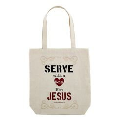 Serve with a Heart Like Jesus Tote Bag with Inside Pocket - 12/pk