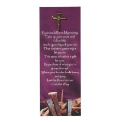 Nail Cross Lapel Pin with Bookmark - 12/pk