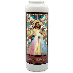 Stained Glass Gleamlights® Devotional Candle - Divine Mercy -12/pk