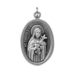 St. Theresa/Pray For Us Oxidized Medal - 50/pk