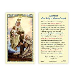 Our Lady of Mount Carmel Laminated Holy Card - 25/pk
