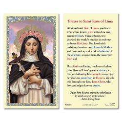 St. Rose of Lima Laminated Holy Card - 25/pk