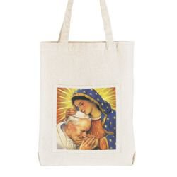 St. John Paul II with Our Lady of Guadalupe Tote Bag with Pocket - 12/pk