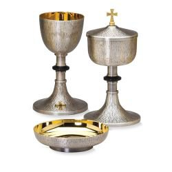 Textured Chalice with Cross and Black Node and Bowl Paten Set