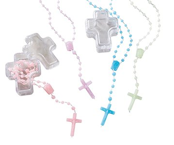 Cord Rosary in Cross Case Assortment (4 Asst) - 24/pk