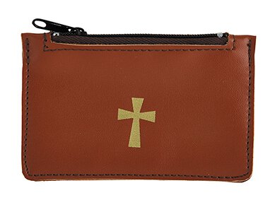 Brown Leather Rosary Case - 6/pk