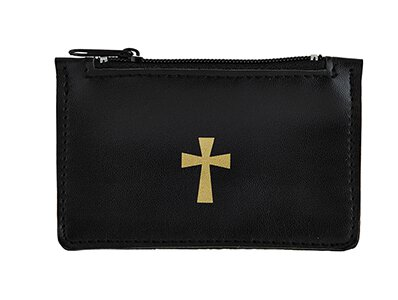 Black Leather Rosary Case - 6/pk