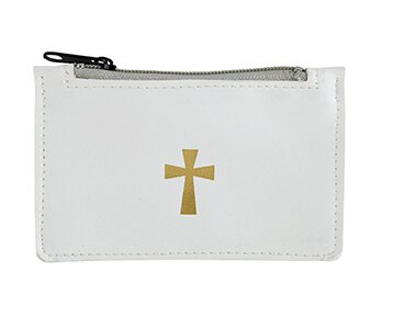 White Leather Rosary Case - 6/pk