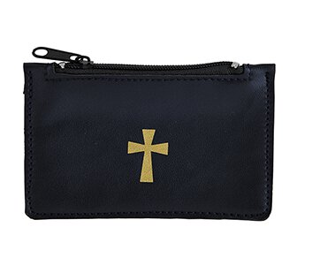 Navy Leather Rosary Case - 6/pk