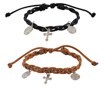 Braided Devotional Charm Bracelet Assortment (2 Asst) - 12/pk