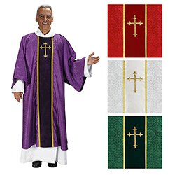 Set of 4 colors Fleur De Lis Cross Jacquard Dalmatic