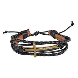 Cross Adjustable Leather Bracelet - 12/pk