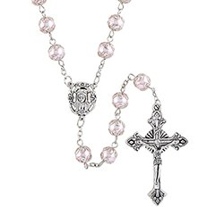 Capped Pink Imitation Pearl Rosary - 3/pk