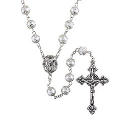 Capped White Imitation Pearl Rosary - 3/pk
