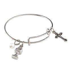 First Communion Bangle Charm Bracelet - 12/pk
