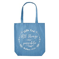 With God All Things are Possible Tote Bag with Inside Pocket - 12/pk