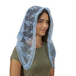 Traditional Chapel Veil - Light Blue - 2/pk