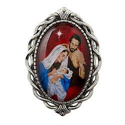 Nativity Ornate Lapel Pin - Red - 12/pk