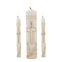 Ornate Cross Wedding Unity Candle Set