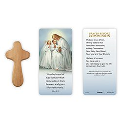 Traditional Memories First Communion Hand-Held Prayer Cross with Card - 12/pk