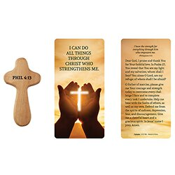 Hand-Held Prayer Cross with Card - Strength - 12/pk