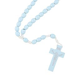Light Blue Wood Cord Rosary - 24/pk