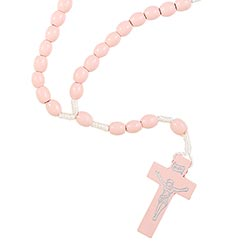 Light Pink Wood Cord Rosary - 24/pk