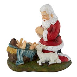Adoring Santa Figurine with Gift Bag - 3/pk