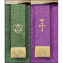 Jacquard Reversible Bookmark with Cross: Purple/Green