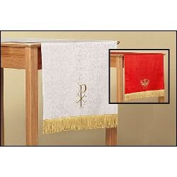 Jacquard Reversible Table Runner with Dove: Red/White