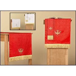 Jacquard ReversibleThree Piece Parament Set: Red/White