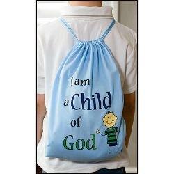 I am a Child of God Drawstring Backpack - Blue -12/pk