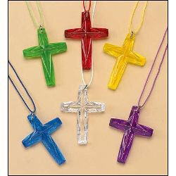 Crystal-Cut Cross Necklace Assortment (6 Asst) - 48/pk