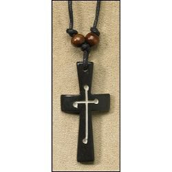 Black Cross with Carved Cross Pendant - 12/pk