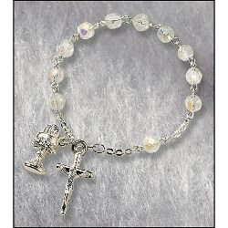 First Communion Crystal Rosary Bracelet - 12/pk