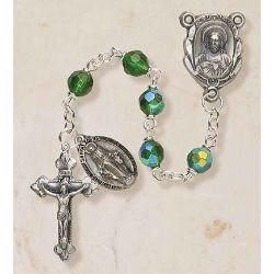 Prague Collection 6 mm AB Crystal Rosary - Emerald