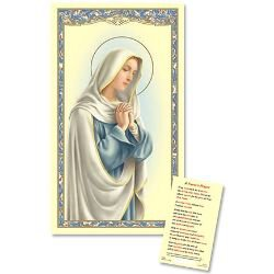 Our Lady in Prayer Laminated Holy Card - 25/pk
