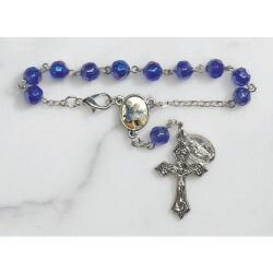 St. Michael Faceted Glass Auto Rosary - 12/pk