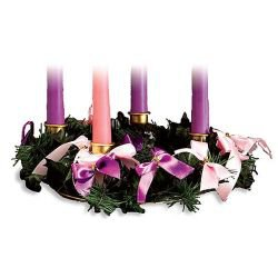 Advent Wreath with Ribbon - 3/pk