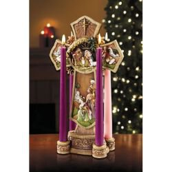 Nativity Cross Advent Wreath