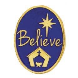 Believe Christmas Lapel Pin - 25/pk