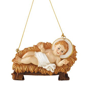 Christ Child in Manger Ornament - 4/pk