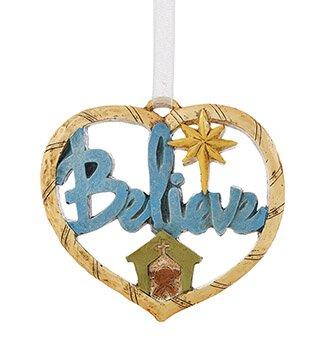 Believe Heart Ornament - 6/pk