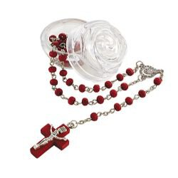 Rose Scented Rosary with Two-Piece Rosebud Case - 12/pk