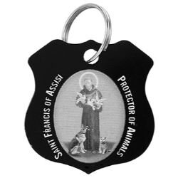 St. Francis Black Pet Medal - 12/pk